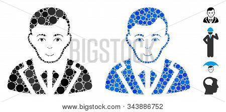 Noble Composition Of Small Circles In Various Sizes And Color Tones, Based On Noble Icon. Vector Sma