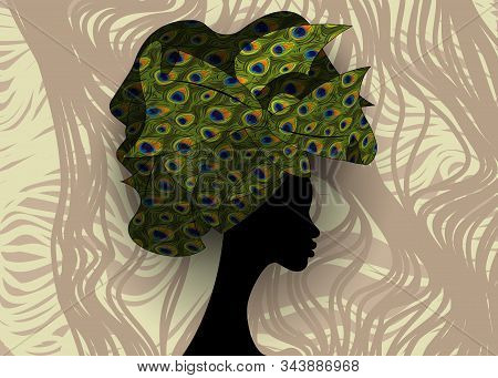 African Wedding Hairstyle Head Wrap, Colorful Head Scarf, Beautiful Portrait Afro Woman In Tradition