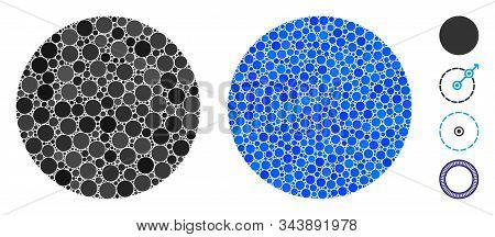 Circle Mosaic Of Filled Circles In Different Sizes And Color Tints, Based On Circle Icon. Vector Fil