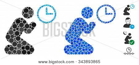Pray Time Composition Of Round Dots In Various Sizes And Color Hues, Based On Pray Time Icon. Vector