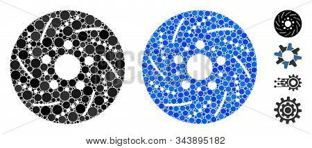 Brake Disk Composition Of Round Dots In Variable Sizes And Shades, Based On Brake Disk Icon. Vector