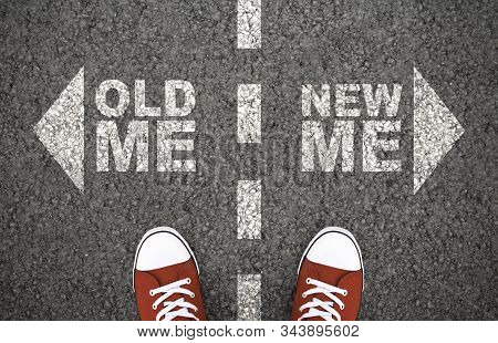 Old And New Me, Dilemma Concept. Decision Between Usual Behaviour And Personal Development