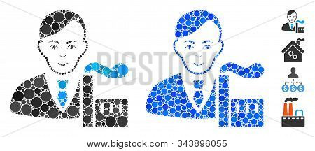 Capitalist Oligarch Mosaic Of Spheric Dots In Different Sizes And Color Tones, Based On Capitalist O