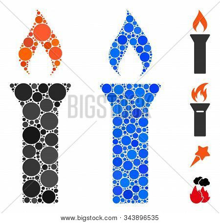Fire Torch Mosaic Of Small Circles In Different Sizes And Shades, Based On Fire Torch Icon. Vector S