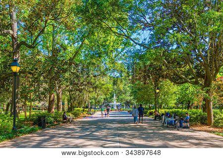 Savannah, Georgia -april 29, 2019: Savannah Is The Oldest City In Georgia. From The Historic Archite