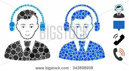 Radio Operator Mosaic Of Filled Circles In Variable Sizes And Shades, Based On Radio Operator Icon.