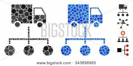 Lorry Distribution Scheme Mosaic Of Filled Circles In Various Sizes And Shades, Based On Lorry Distr