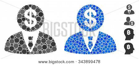 Banker Composition Of Small Circles In Various Sizes And Color Tinges, Based On Banker Icon. Vector