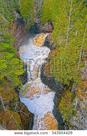 Pothole Waterfalls In A Rocky Chasm On The Cascade River In Minnesota