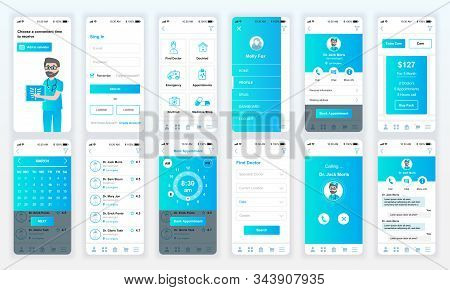 Set Of Ui, Ux, Gui Screens Medicine App Flat Design Template For Mobile Apps, Responsive Website Wir