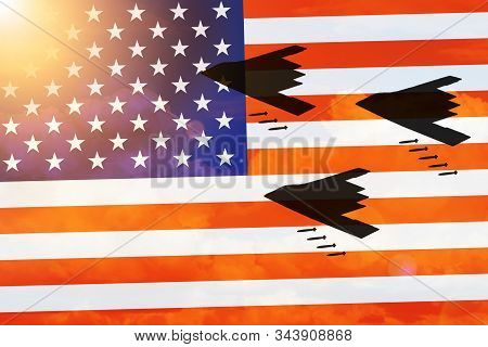 Airplane Stealth Bomber Silhouettes On Usa Flag Background