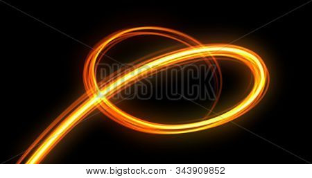 Light trail spiral, orange neon glowing wave swirl, energy flash spin trace effect. Abstract magic glow spiral line swirl trace, optical fiber and bright light path in speed motion on black background