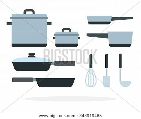 Cooking Pans And Saucepan With A Whisk And Ladle Vector Flat Isolated