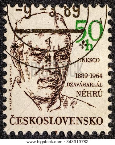 Czechoslovakia - Circa 1989: A Stamp Printed In Czechoslovakia Issued For The 100th Birth Anniversar