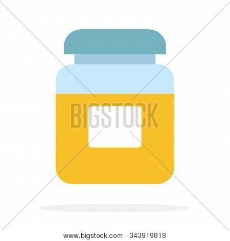 Glass Jar With Turmeric Vector Flat Isolated