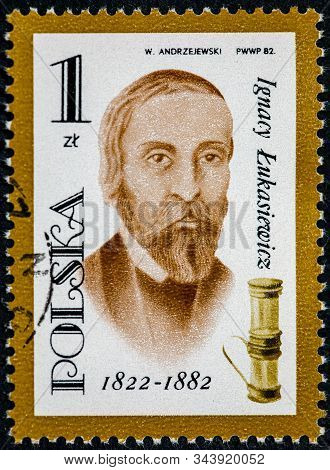 Poland - Circa 1982: A Stamp Printed In The Poland Shows Ignacy Lukasiewicz Pharmacist Oil Lamp Inve