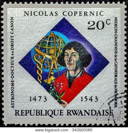 Rwanda - Circa 1973 : Cancelled Stamp Printed By Rwanda, That Shows Nicolas Copernicus.