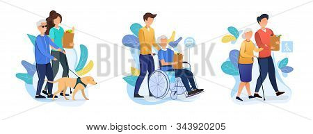 Three Designs Depicting Old Age Care For Retirees With Carers Helping An Elderly Person With Dog, In
