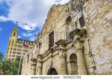 San Antonio, Texas, United States - October 7, 2019 Alamo Mission Battle Site Emily Morgan West Hote