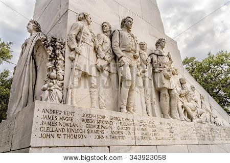San Antonio, Texas, United States - October 7, 2019 Alamo Heroes Cenotaph Memorial San Antonio Texas