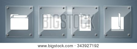 Set File Document, File Document And Binder Clip, Document Folder And Document Folder. Square Glass