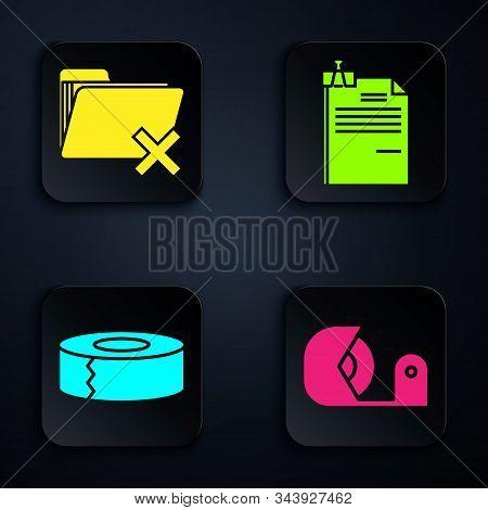 Set Scotch, Delete Folder, Scotch And File Document And Binder Clip. Black Square Button. Vector