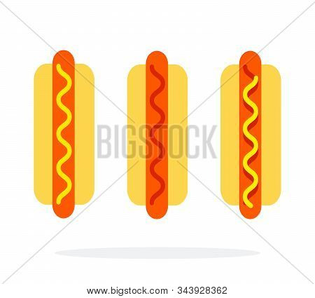 Hot Dog With Mustard Hot Dog With Ketchup Hot Dog With Mustard And Ketchup Vector Flat Isolated
