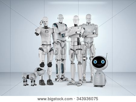 3d Rendering Group Of Automation Robots On White Background