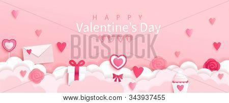 Valentines Day Banner With Symbols Of Holiday-gifts, Hearts, Letters, Flowers On Pink Background Wit