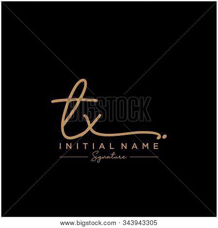 Letter Initial Tx Signature Logo Template Vector