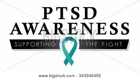 Ptsd Awareness Ribbon | Post Traumatic Stress Disorder Vector Logo To Promote Awareness | Teal Ribbo