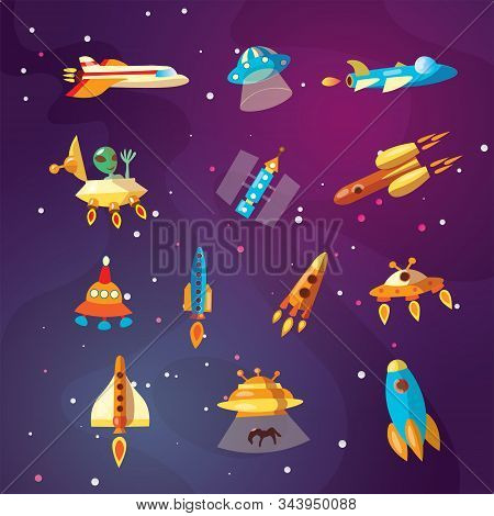 Cute Cartoon Space Explorer, Astronomy Science And Ufo Vector Set. Lunar Rover, Rockets, Space Sheep