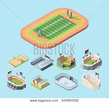 Sports Fields And Stadiums Vector Isometric Illustrations Set
