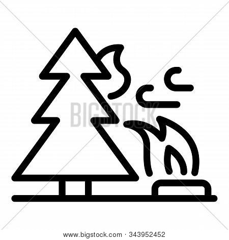 Natural Wildfire Icon. Outline Natural Wildfire Vector Icon For Web Design Isolated On White Backgro
