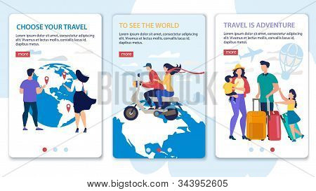 Travel Agency Tours, Airline Tickers, Hotel Booking Service Trendy Flat Vector Vertical Slide Web Ba