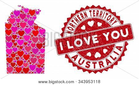 Valentine Mosaic Australian Northern Territory Map And Rubber Stamp Seal With I Love You Words. Aust