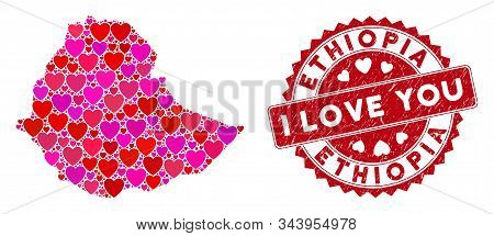 Valentine Mosaic Ethiopia Map And Rubber Stamp Watermark With I Love You Words. Ethiopia Map Collage