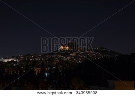 Night View Of Mount Lycabettus In Athens Greece