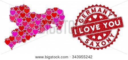 Love Collage Saxony Land Map And Corroded Stamp Seal With I Love You Phrase. Saxony Land Map Collage