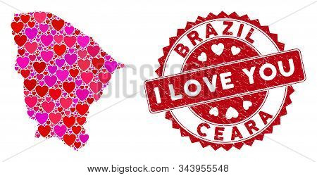 Love Collage Ceara State Map And Grunge Stamp Watermark With I Love You Text. Ceara State Map Collag