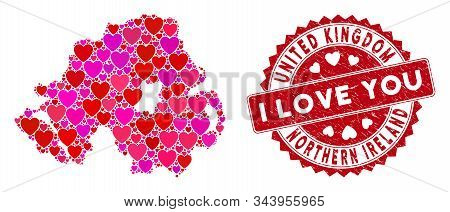 Valentine Collage Northern Ireland Map And Grunge Stamp Seal With I Love You Badge. Northern Ireland