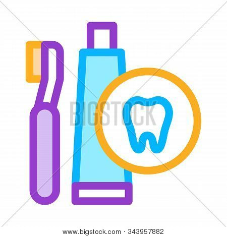 Toothbrush And Paste Icon Vector. Outline Toothbrush And Paste Sign. Isolated Contour Symbol Illustr