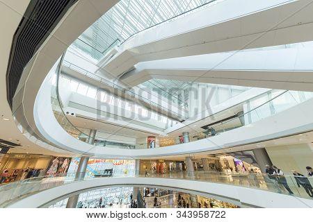 Hong Kong - February 16, 2017 : Interior Of Ifc Shopping Mall In Hong Kong. Hong Kong Shopping Malls