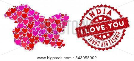 Love Collage Jammu And Kashmir State Map And Grunge Stamp Watermark With I Love You Badge. Jammu And