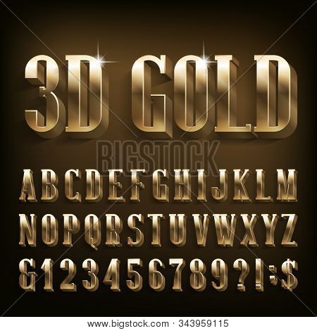 3d Gold Alphabet Font. Shiny Golden Letters, Numbers And Symbols. Stock Vector Typescript For Your D
