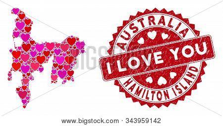 Love Mosaic Hamilton Island Map And Rubber Stamp Seal With I Love You Message. Hamilton Island Map C