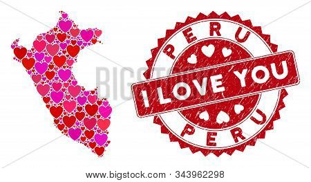 Love Collage Peru Map And Grunge Stamp Seal With I Love You Text. Peru Map Collage Constructed With