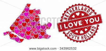 Love Collage South Holland Map And Rubber Stamp Watermark With I Love You Words. South Holland Map C