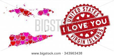 Love Collage American Virgin Islands Map And Rubber Stamp Watermark With I Love You Words. American