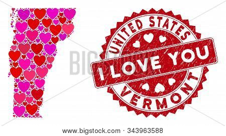 Love Collage Vermont State Map And Rubber Stamp Seal With I Love You Message. Vermont State Map Coll